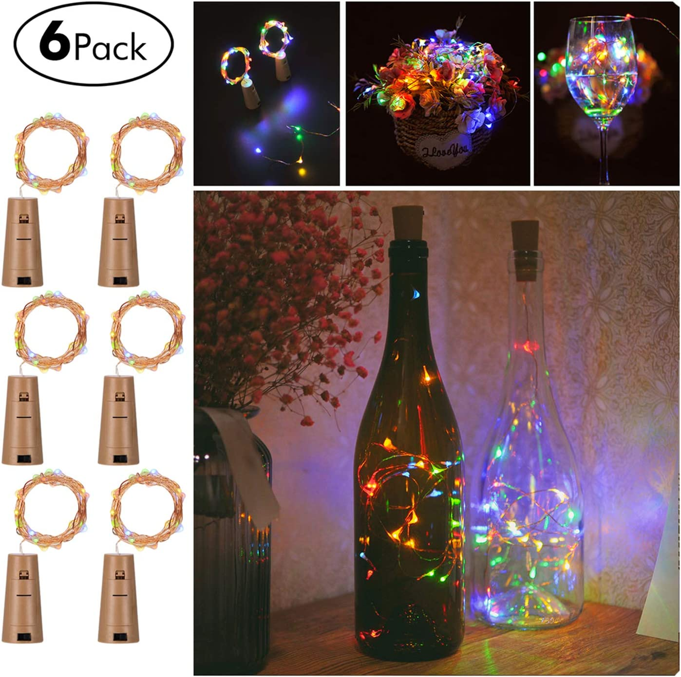 6 Pack Wine Bottles Cork String Lights,Crytech 20Leds Battery Powered Fairy Mini String Lights Decorations for Bedroom Patio Garden Wedding Halloween Christmas Party Warm White