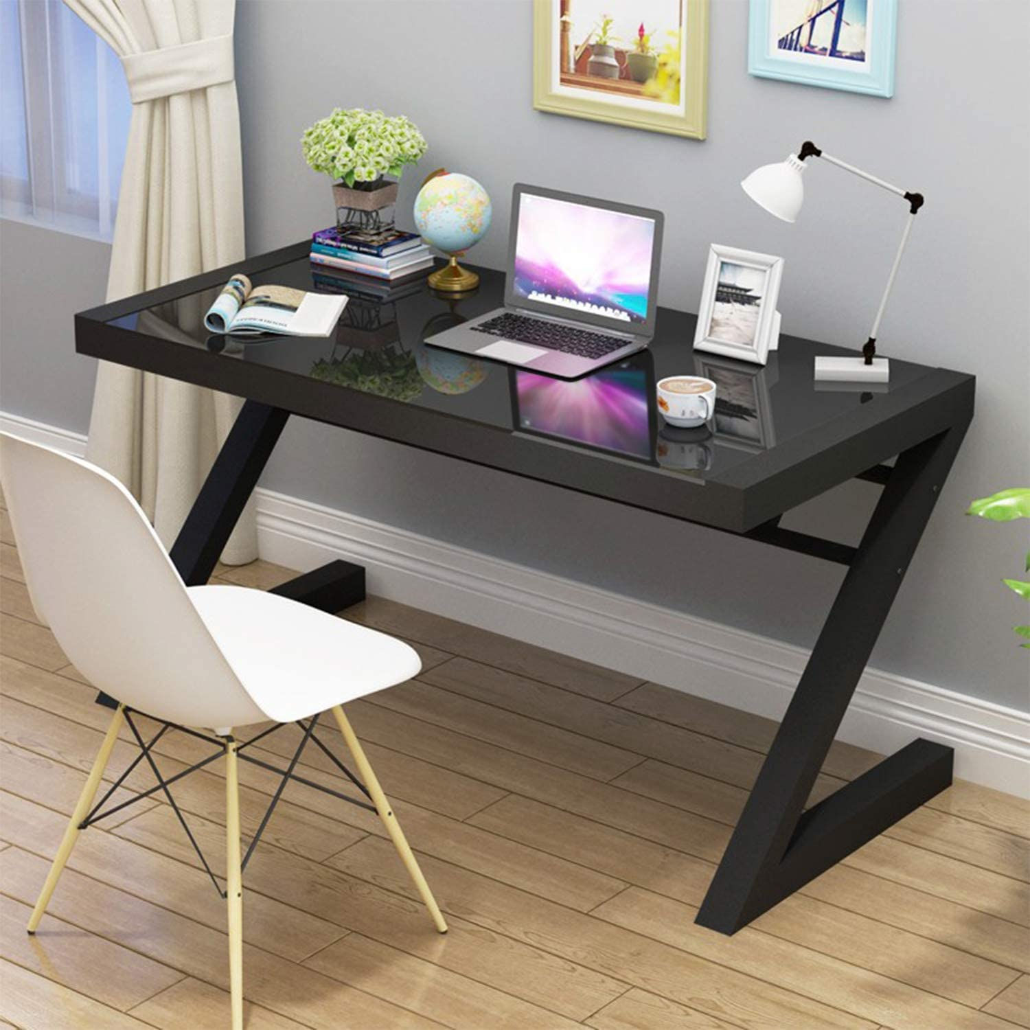 Jerry & Maggie - Z Shape Computer Desk Modern Fashion Strength Tempered Glass Office Laptop Desk USB Accessory Attribute Multi Functional Study Writing Dinning Table Personal Workstation Home