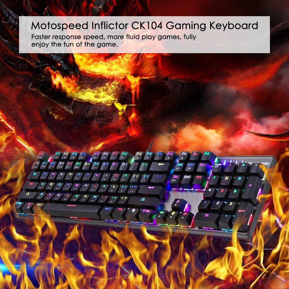 Motospeed CK104 Teclado mecánico con interruptores azules, LED RGB retroiluminado 104 teclas Gaming USB con 9 tipos de luz 50 millones de pulsaciones ...