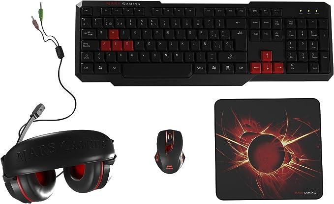 Mars Gaming MACP1, Pack Gaming Teclado, Ratón, Auriculares y Alfombrilla, Negro: Mars-Gaming: Amazon.es: Informática