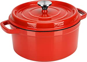 Dutch Oven Red,Enameled Cast Iron Dutch Oven with Lid, 4 Quart Round Nonstick Enamel Cookware Crock Pot,Dutch Oven with Dual Handle and Cover Casserole Dish 8.66 Inch