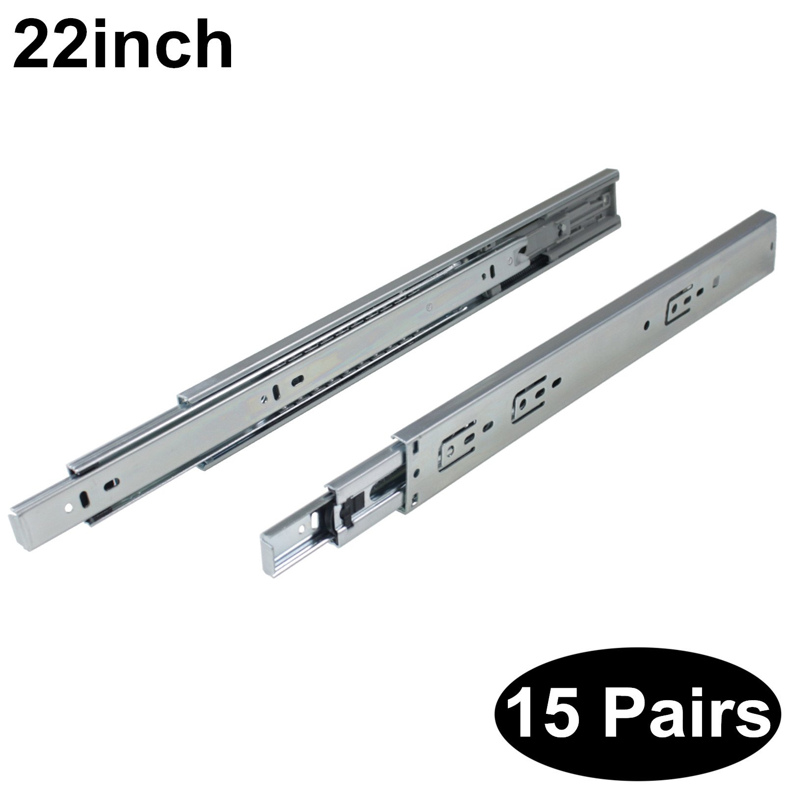 15 Pairs Soft Close DHH32-22 inch Full Extension Side Mount Drawer Slides 3-Folds Ball Bearing;100-pound Capacity
