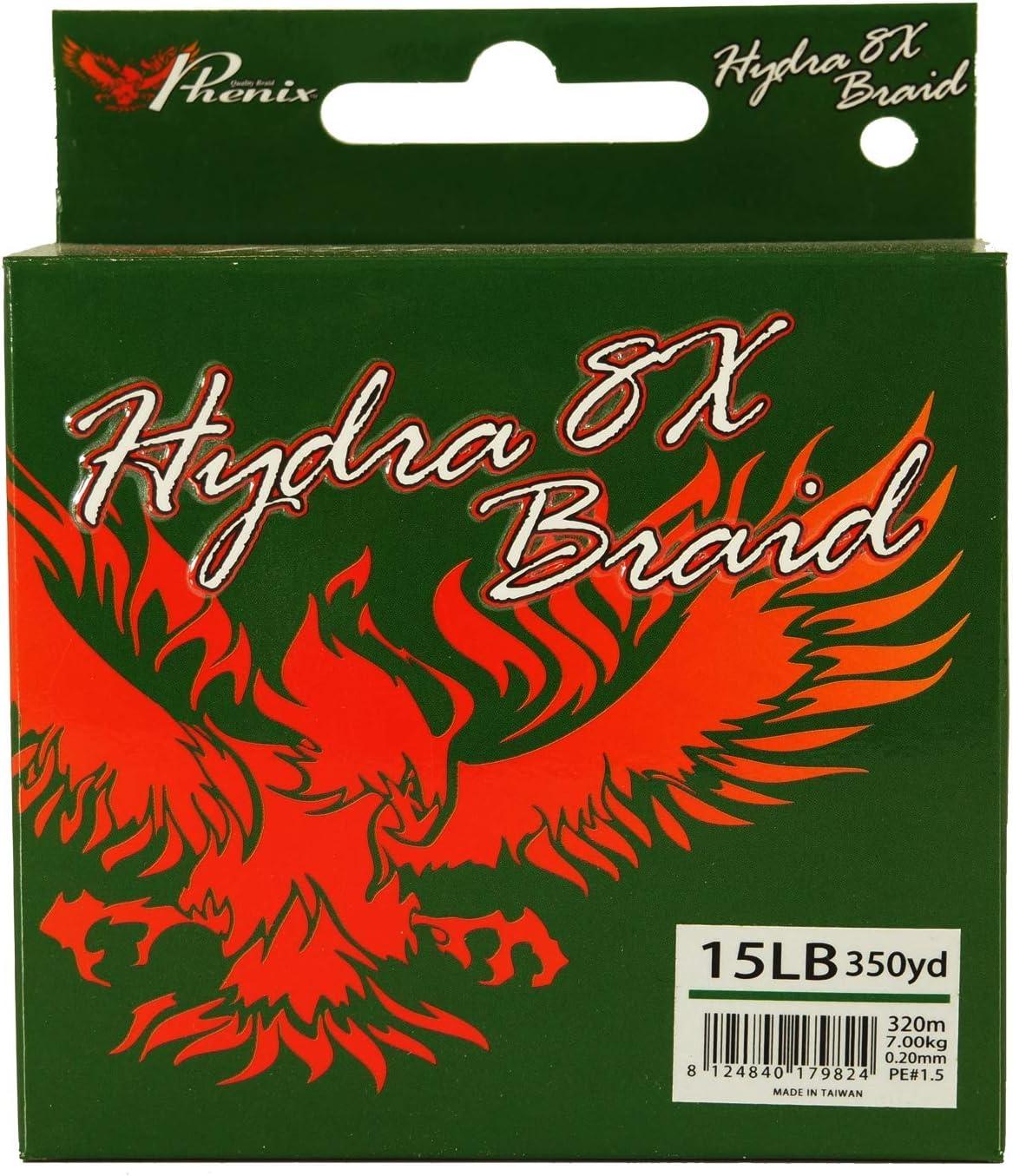 Phenix Hydra 8X Braided Fishing line Spectra 15lb 350yd Green /…