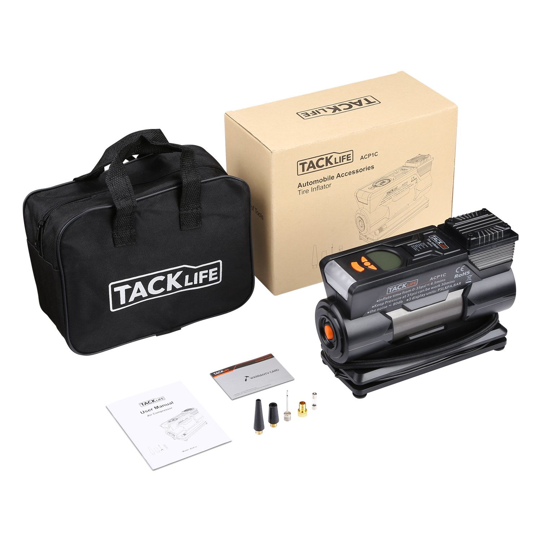 Tacklife ACP1C - Compresor de aire para coche, bomba de aire digital portátil para coche de 12 V con alta velocidad de bombeo de 35 l/min., pantalla LCD ...
