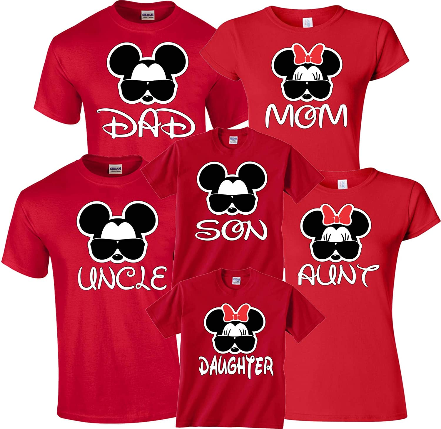 b4072f15 Disney Dad Mom Glasses Family Vacation Mickey & Minnie Matching Shirts at  Amazon Women's Clothing store: