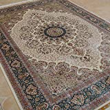 Yilong 5.5 x8  Hand Knotted Silk Rug Vintage Oriental Kerman Floral Medallion Handmade Home Carpet (Ivory and...