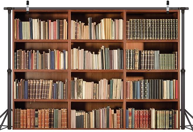 LYWYGG 7X5FT Telón de fondo de biblioteca Oficina Telón de fondo retro Estantería Libro mágico Biblioteca antigua Fondo de fotografía de vinilo ...