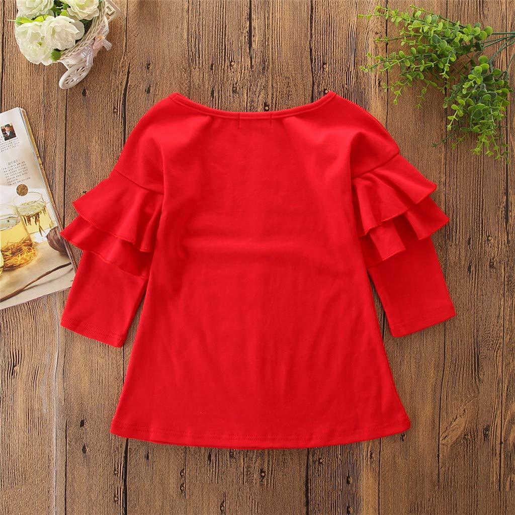 Amazon.com: PENATE Baby Girl Mini Dress Solid Cotton Long ...