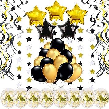 Decoracion Fiesta Cumpleaños Oro, Globos Confeti, Remolinos Colgantes, Guirnalda de Estrellas, Globos Negro Dorado