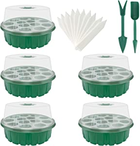 5 Pack Seed Starter Tray,Humidity Adjustable Seed Tray Kits with Dome and Base Greenhouse Grow Trays Mini Propagator for Seeds Growing Starting