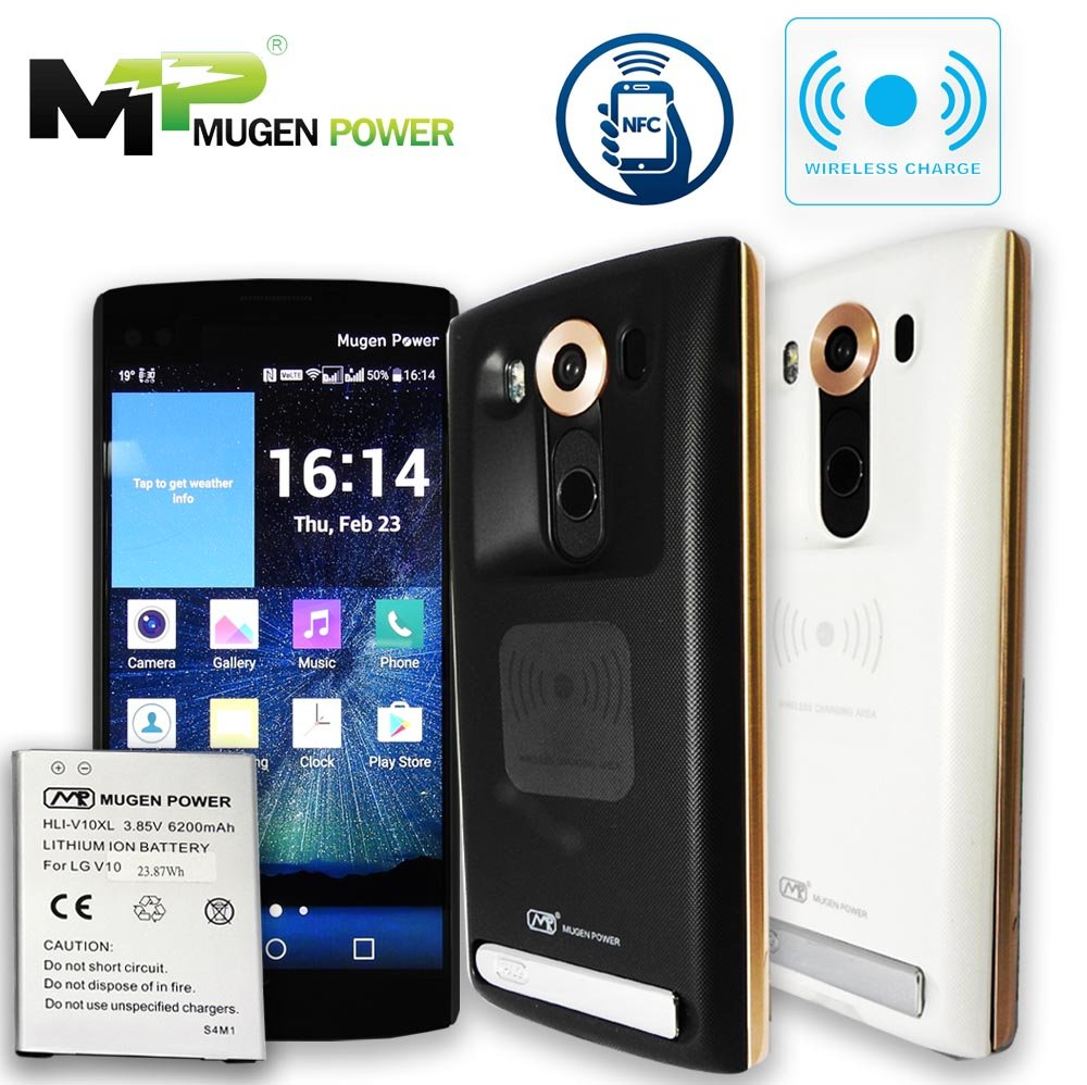 Mugen Power LG V10 Double Juice With Wireless Charge NFC Android Pay 6200mAh Extended Battery (BL-45B1F) Non-Slip Better hand Grip Back Cover (AT&T H900, T-Mobile H901, Verizon VS990) (White)