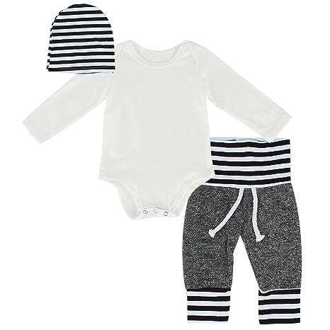 Puseky bebé niños niñas conjunto traje pelele de color blanco de
