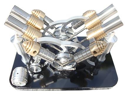 Lieyang motor Stirling con cuatro cilindros de aire caliente, modelo generador eléctrico,