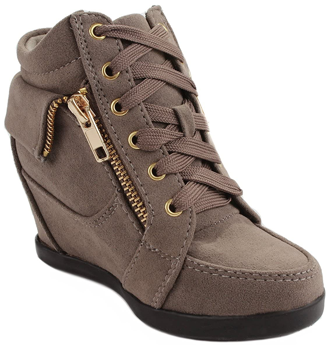 JJF Shoes Peter Gladys24 Kids Taupe Fashion Leatherette Suede Lace-up High Top Wedge Sneaker Bootie-12