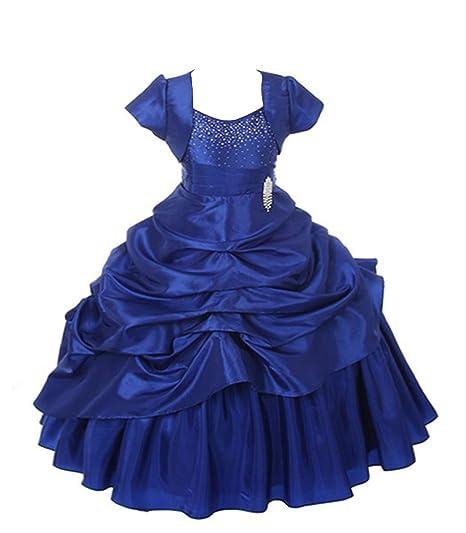 1c52678032ac2b Saba Garments Girl s Bangalory Satin Princess Look Design Gown Dress (Blue