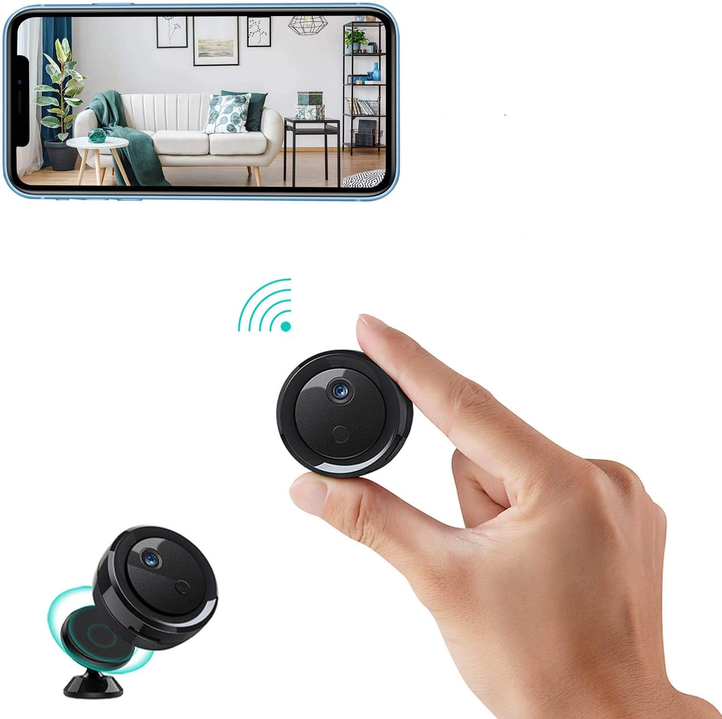 Spy Camera Hidden Wireless Camera WiFi Mini HD 1080P Portable Home Security Cameras Covert Nanny Cam Small Indoor Outdoor Video Recorder Motion Activated Night Vision (Black)