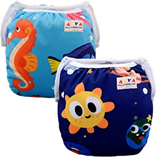 ALVABABY Swim Diapers Reuseable Washable Adjustable 0-36 mo.For Infants Toddlers Boys Girls 2 Pack One Size Swimming Lesson Baby Shower Gifts SWD23-24-CA