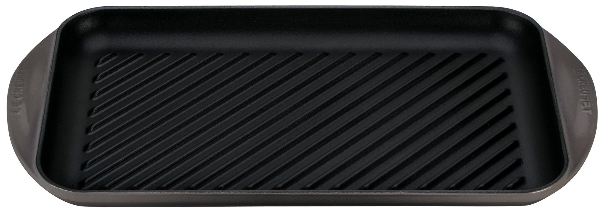 Le Creuset of America Enameled Cast Iron Double Burner Grill, 15 3/4'' x 9'' x 1''/X-Large, Oyster
