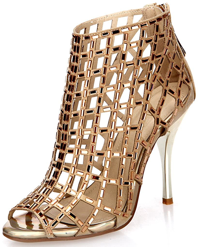Littleboutique Embellished Cutout High Heel Bootie Rhinestone Studded Sandal Heels Dress Sandal