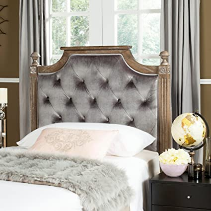 buy online fa3bb 78c4d Safavieh Home Collection Tufted Velvet Rustic Oak and Grey Headboard (Queen)