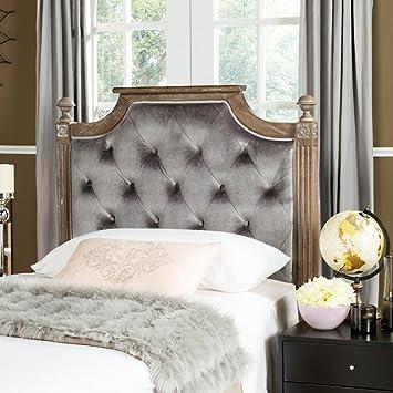 buy online bda27 f0ef2 Safavieh Home Collection Tufted Velvet Rustic Oak and Grey Headboard (Queen)