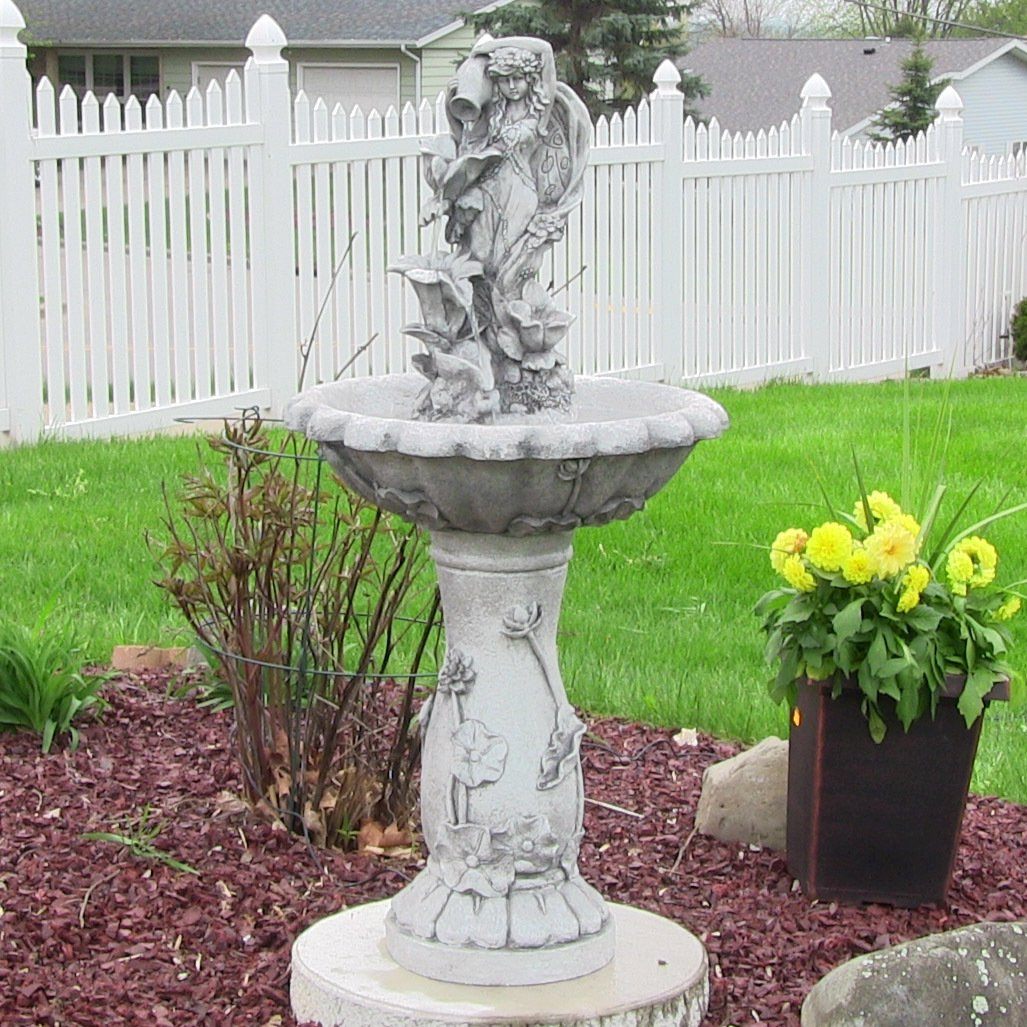 Amazon.com : Sunnydaze Fairy Flower Solar Power Outdoor Water Fountain,  42.5 Inch Tall : Free Standing Garden Fountains : Garden U0026 Outdoor