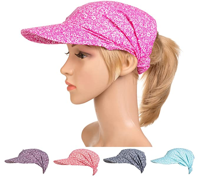 4bde4de436247 DancMolly Women Chemo Sun Visor Stretchable Hat Cap Summer Cotton ...