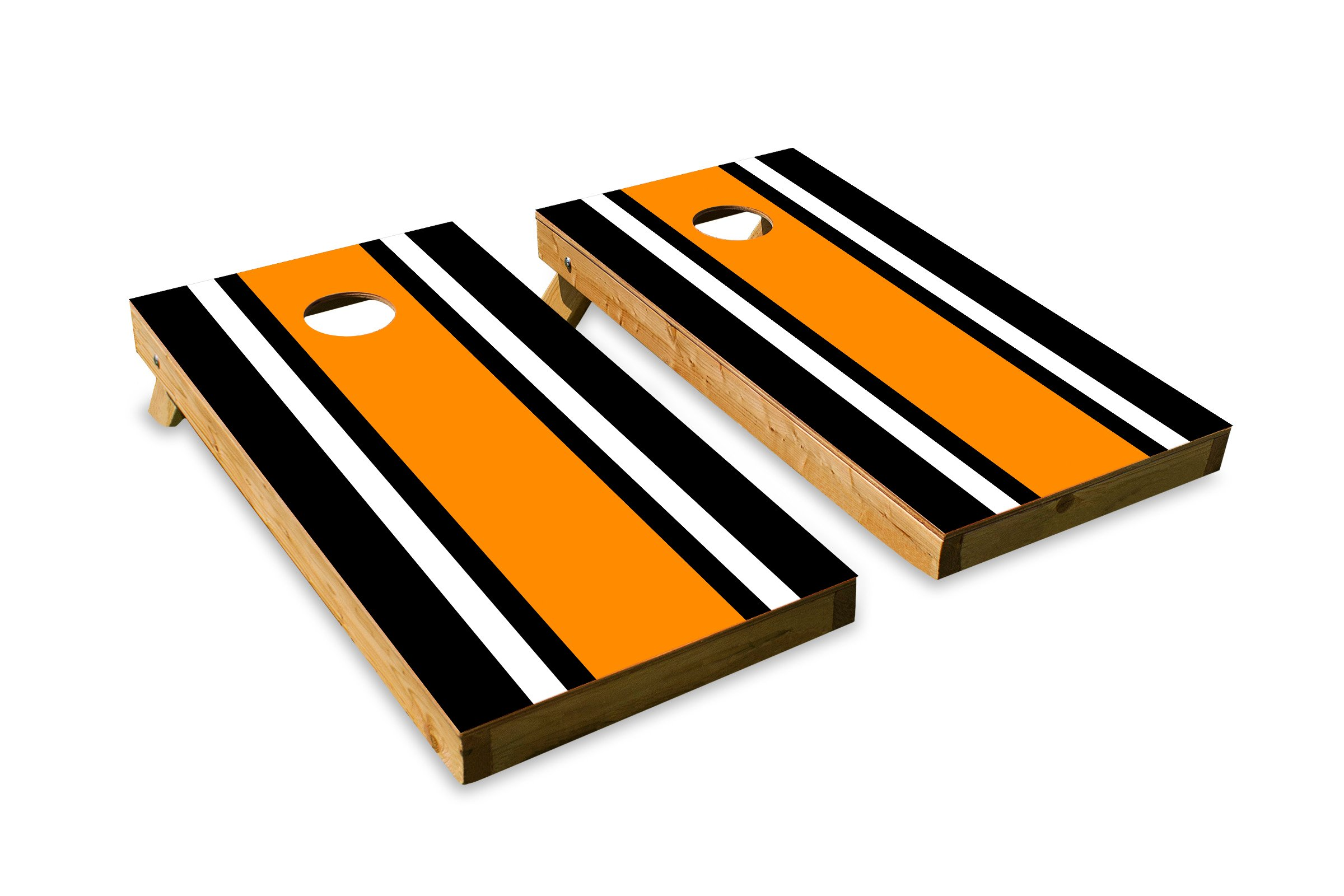 Classic Stripe - Black, White, Orange - Cornhole Crew - ACA Regulation Size Cornhole Board Decals