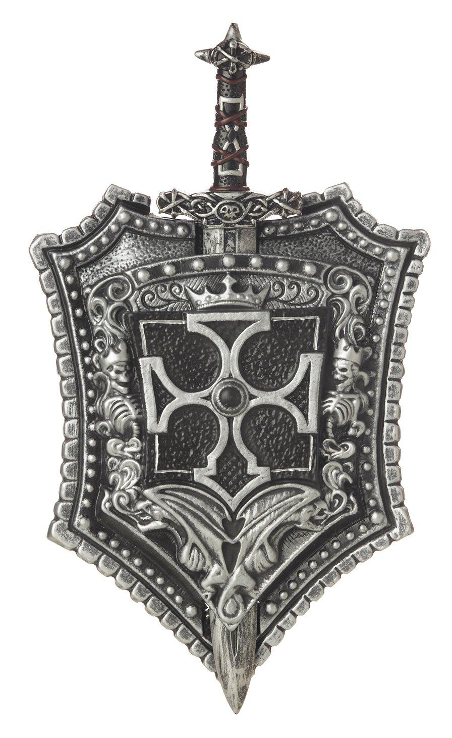California Costumes Crusader Sword & Shield Costume Accessory Black/Silver One Size Costume 60318-Black/Silver-One Size