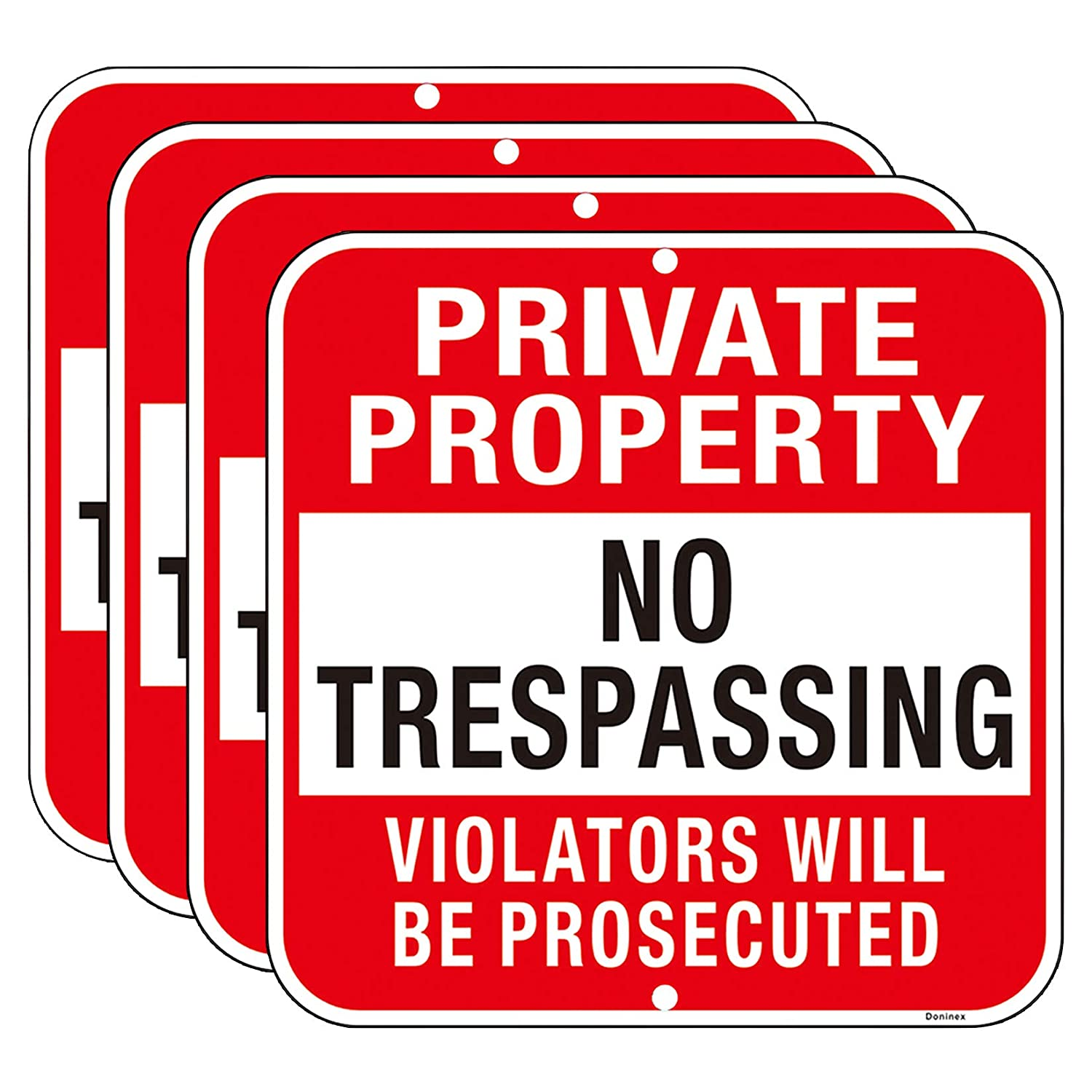 Large OFFicial shop 4 Pack Private Property 12x12 No Challenge the lowest price Trespassing Inche Sign