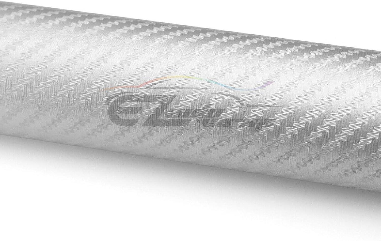 EZAUTOWRAP Free Tool Kit Silver 3D Carbon Fiber Textured Matte Car Vinyl Wrap Sticker Decal Film Sheet 12X60 1FT X 5FT