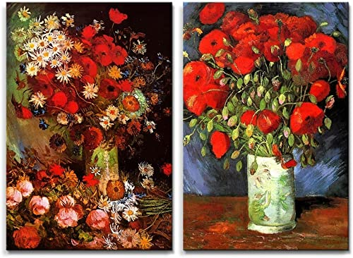 Famous Oil Painting Reproduction Replica Set of 2 Vase with Poppies Cornflowers Peonies and Chrysanthemums Red Poppies by Van Gogh ped – Canvas Art Wall Decor – 16 x 24 x 2 Panels