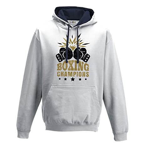 KiarenzaFD Sudadera Capucha Bi Boxeo Boxeo Boxing Champions Ring Combate Saco 3, Arctic White-