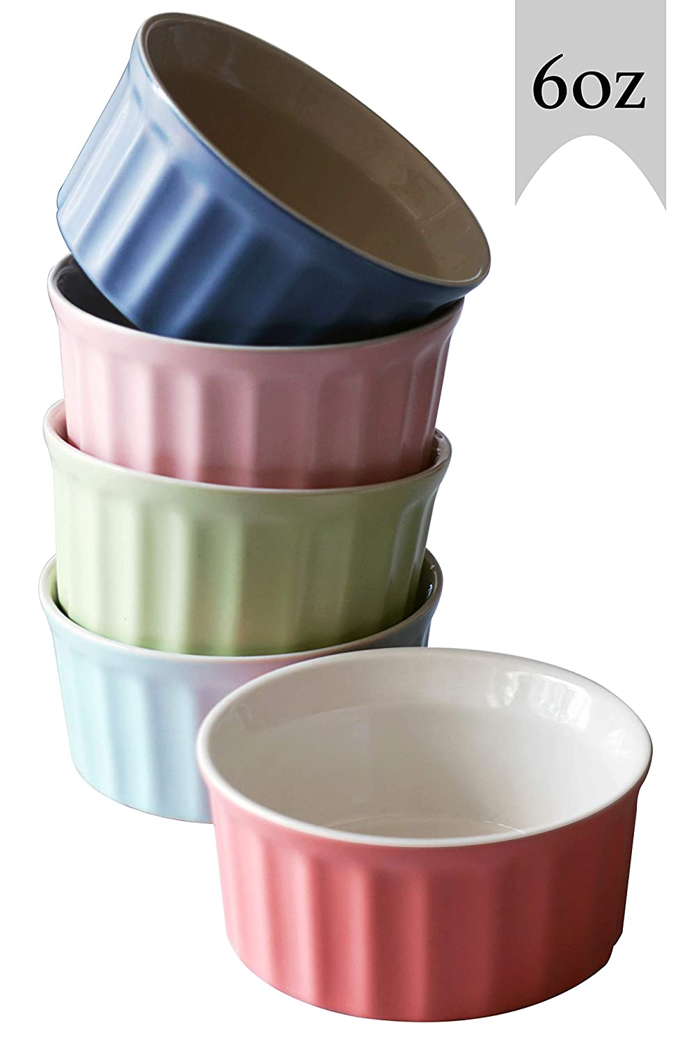 Cestash 6 Ounce Porcelain Souffle Cups - Oven Safe Ramekins for Baking - Porcelain Baking Dish For Soufflé, Creme Brulee and Ice Cream - Colorful Souffle Dishes (Set of 5)