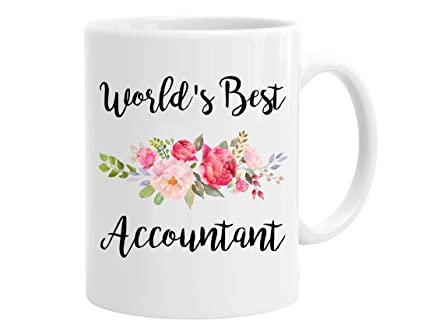 InterestPrint White Ceramic World's Best Accountant Coffee Mugs Office Cups with Flowers 11 Ounce, Funny Gift for Women, Men, Family, Friends, Co Workers - Retired Tax Accountant Gifts Idea