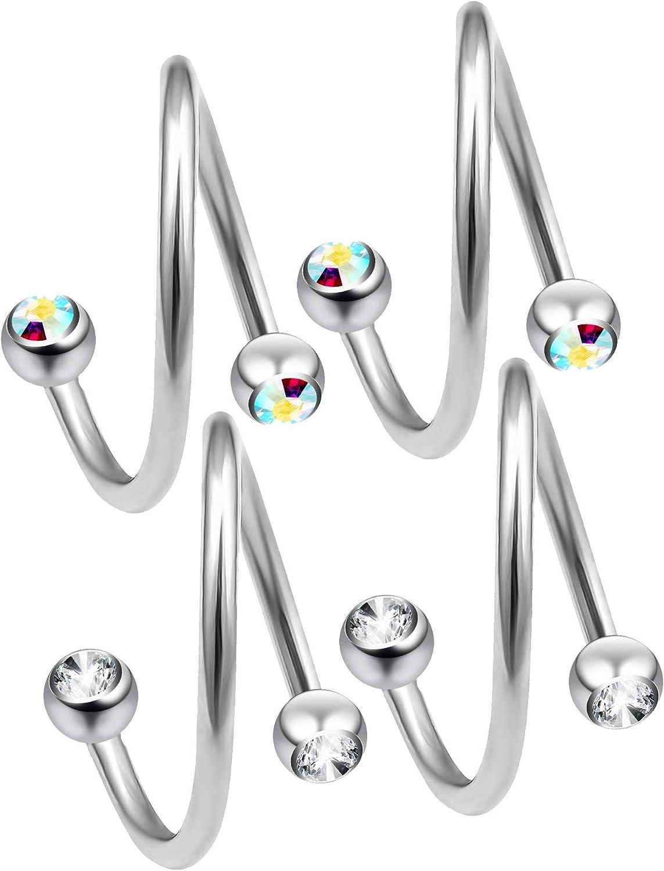 Spiral Twist Piercing Titanium 1,2 mm Multi Crystal Ball White6-12 mm