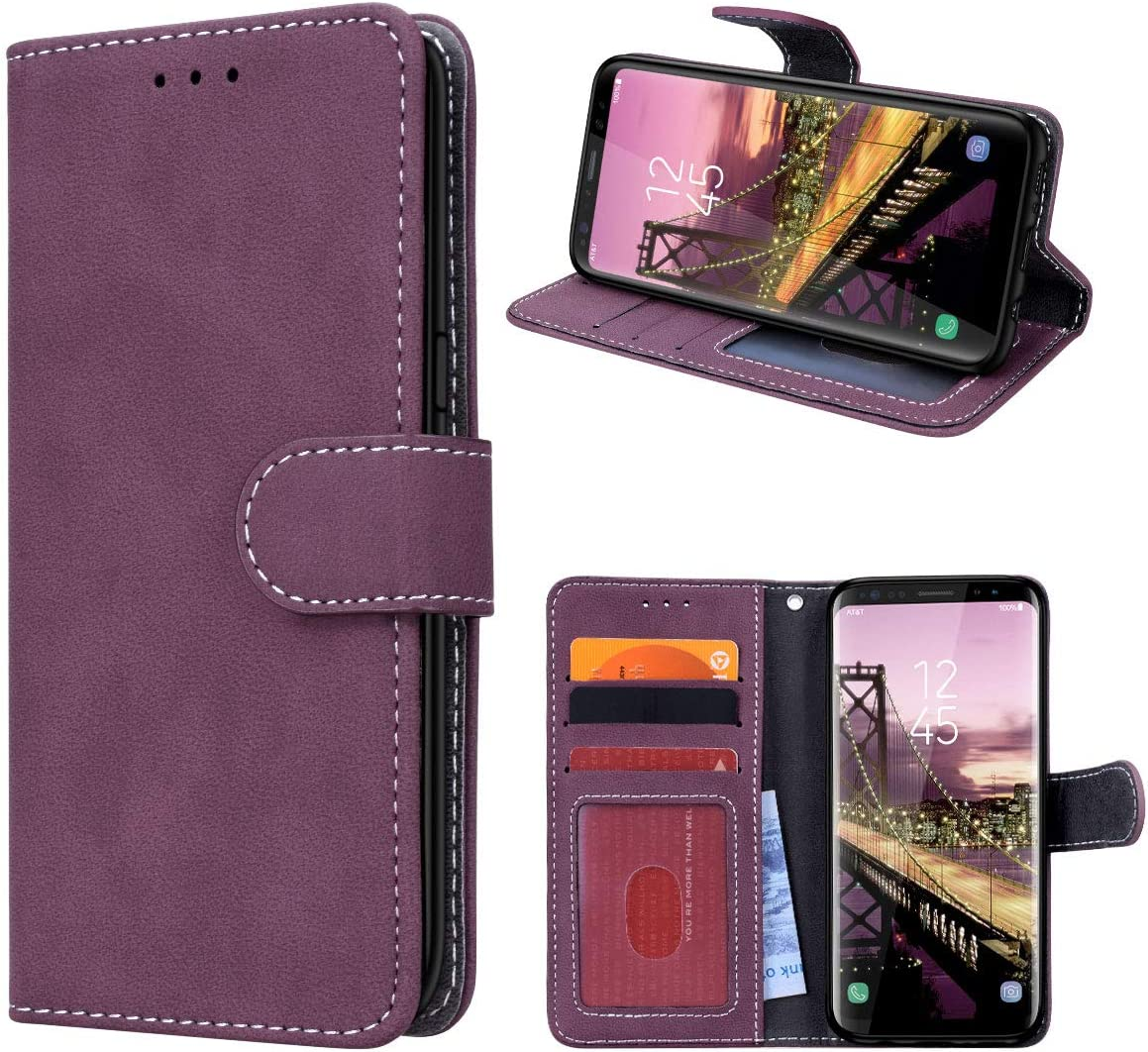 Prologfer Samsung Galaxy S8 H/ülle Braun Lederh/ülle Handytasche Karten Slot Case Cover Magnetverschluss Flip Bookstyle Standfunktion mit Magnet Schutzh/ülle f/ür Samsung S8 Handyh/ülle