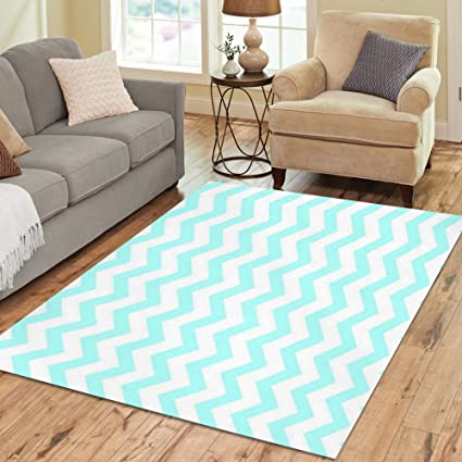 InterestPrint Turquoise Aqua Blue And White Chevron Polyester Area Rug Pattern Texture Home Decor Carpet Floor