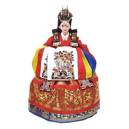 Amazon.com: Korean Traditional Handicraft Dolls Wedding Dress ...