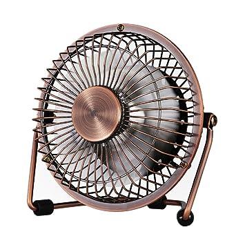 Small USB Desk Fan   Glamouric Mini Metal Personal Fan Retro Design  Electric Portable Air Circulator