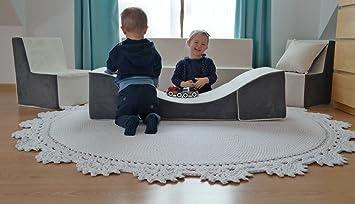 Velinda Ensemble de Meubles Enfant Chaise Longue Couleur: Rouge Fauteuil+canap/é+Pouf d/épliant