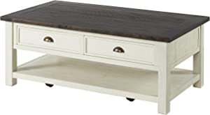 Martin Svensson Home Solid Wood Coffee Table, Cream White with Brown Top
