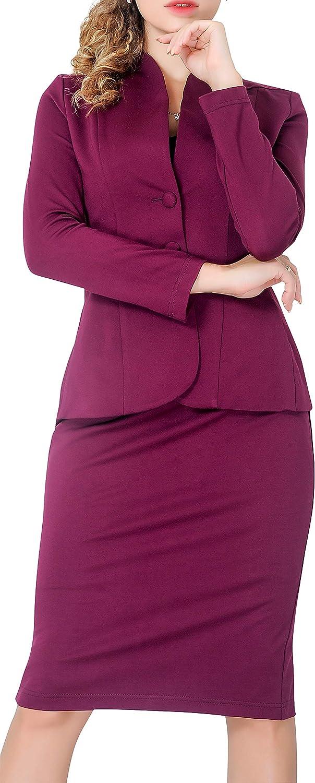Marycrafts Women's Formal Office Business Work Jacket Skirt Suit Set