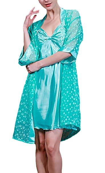 Camisones De Mujer Batas 2 Pieza Conjuntos Pijama Corto Elegantes Moda Cómodo Joven Bastante Respirable Camison Kimono Pijamas Women: Amazon.es: Ropa y ...