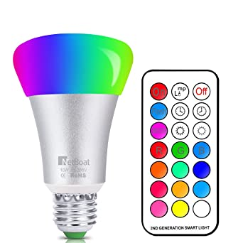 Gut NetBoat RGBW LED Lampen, 10W E27 LED Farbige Licht Leuchtmit RGB LED  Leuchtmittel Dimmbar Mit