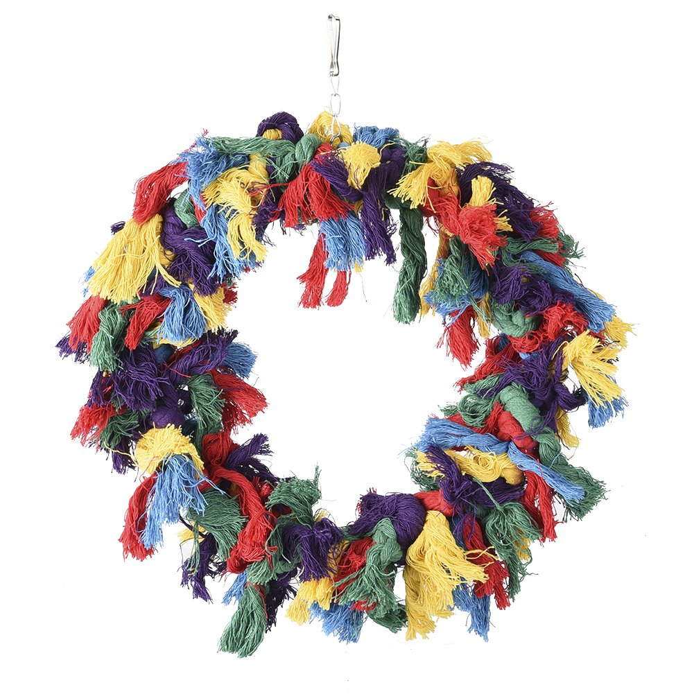 Pet Bird Cotton Ring Play Exercise Chew Cotton Snuggle Ring Bird Toy by Hypeety (Image #5)