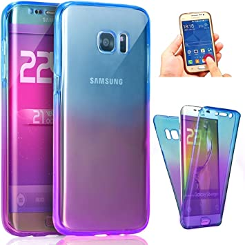 Kompatibel Mit Galaxy S7 Hülle 360 Grad Handyhülle Full Body Cover Tpu Silikon Hülle Vorne Hinten Rundum Doppel Schutz Durchsichtig Schutzhülle Etui Case Cover Für Galaxy S7 Blau Lila Baumarkt