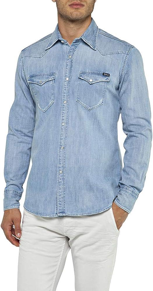 REPLAY M4981 .000.26c 475 Camisa Vaquera, Azul (Light Blue 10), X-Large para Hombre: Amazon.es: Ropa y accesorios