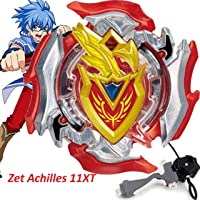 Urcara Bey Burst Gyro Battling Top Beyblade Burst B-105 Zet Achilles 11XT Balance Starter with Launcher + Grip Set Top Battle Set Toys for Kids(with B-40 Launcher Grip Set)