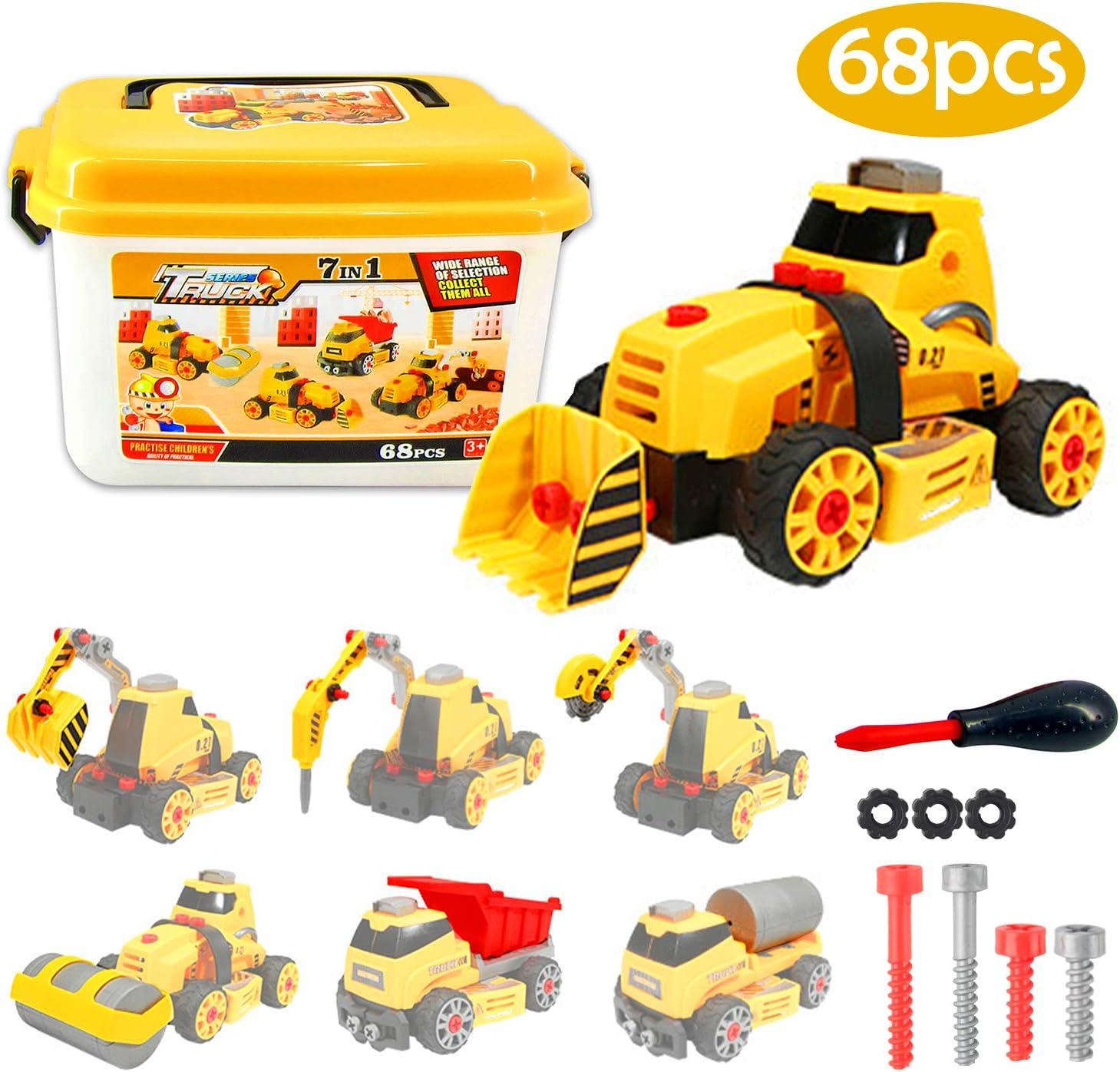Camión de construcción DIY Stem Coche de Juguete in Scatola 7 en 1 Desmontar y Ensamblar Vehiculos para Niño y Niña de 3 Años, 68 Piezas